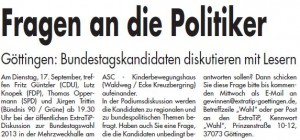 ET 08.09.2013 Ankündigung Podiumsdiskussion ExtraTip Göttingen